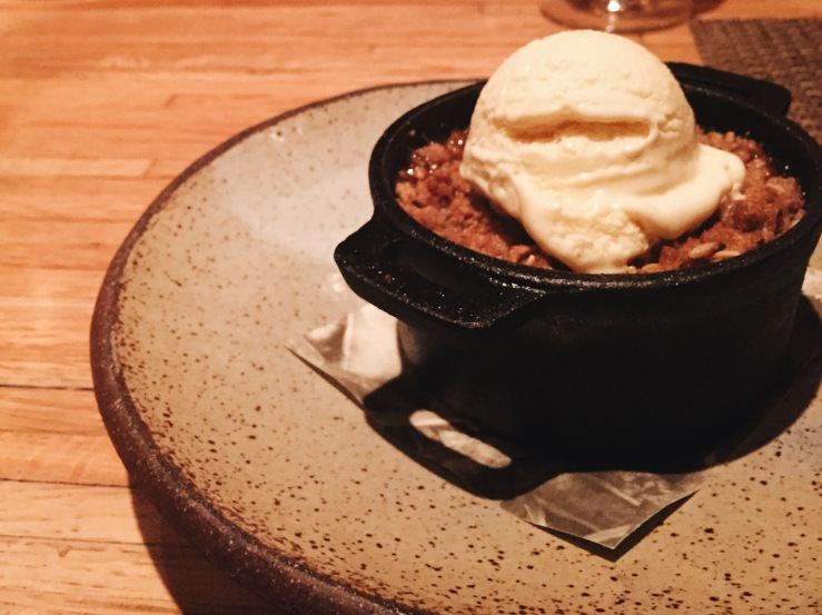 Apple crisp for dessert at Husk