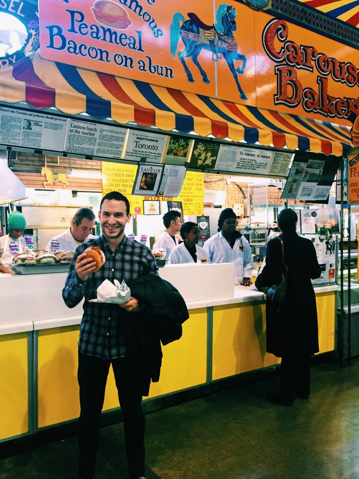 Peameal bacon sandwich time at St Lawrence Market